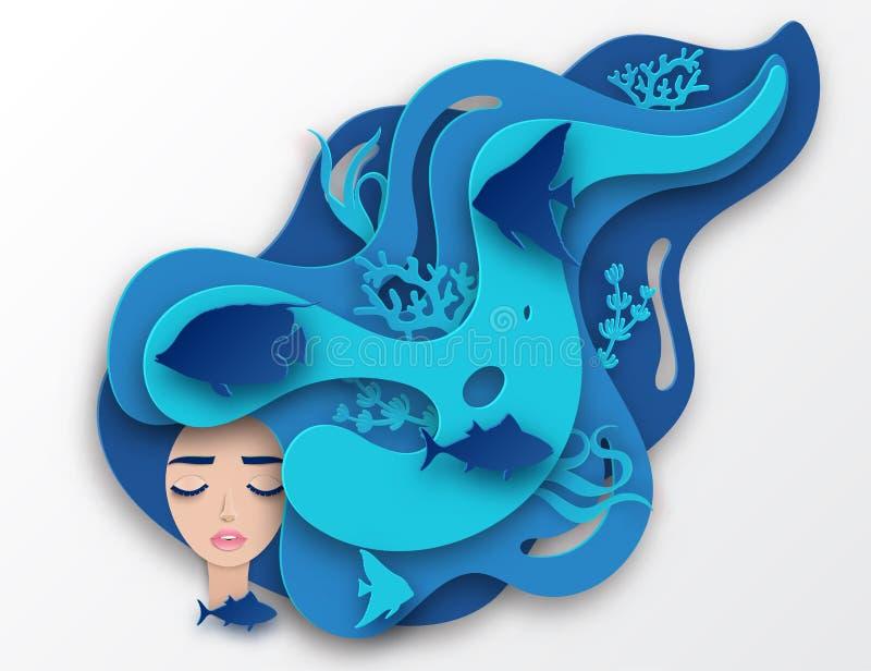 Dirigez le portrait de papier de la jeune belle sirène de femme illustration libre de droits