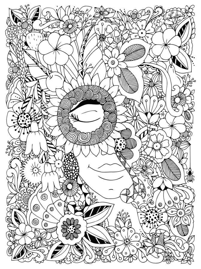 Dirigez le portrait de Zen Tangle d'illustration d'une femme dans un cadre de fleur Fleurs de griffonnage, forêt, jardin Anti eff illustration stock