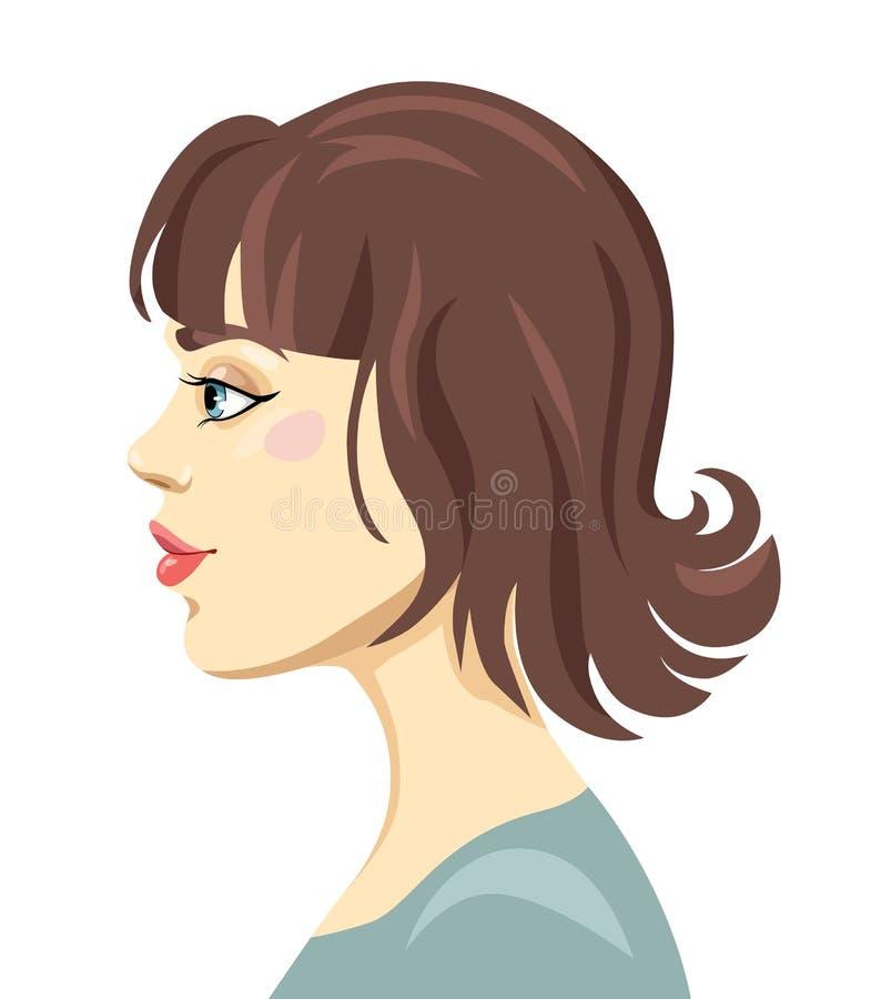 Dirigez le portrait du ` s de femme de bande dessinée avec la frange et les cheveux bruns illustration de vecteur