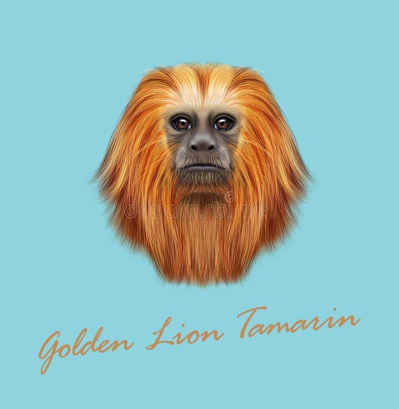 Dirigez le portrait illustré du singe d'or de tamarin de lion illustration de vecteur