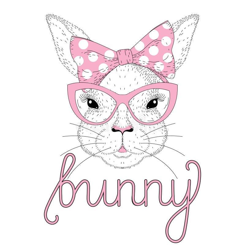 Dirigez le portrait mignon de fille de lapin avec la goupille rose vers le haut du noeud papillon sur la tête illustration libre de droits