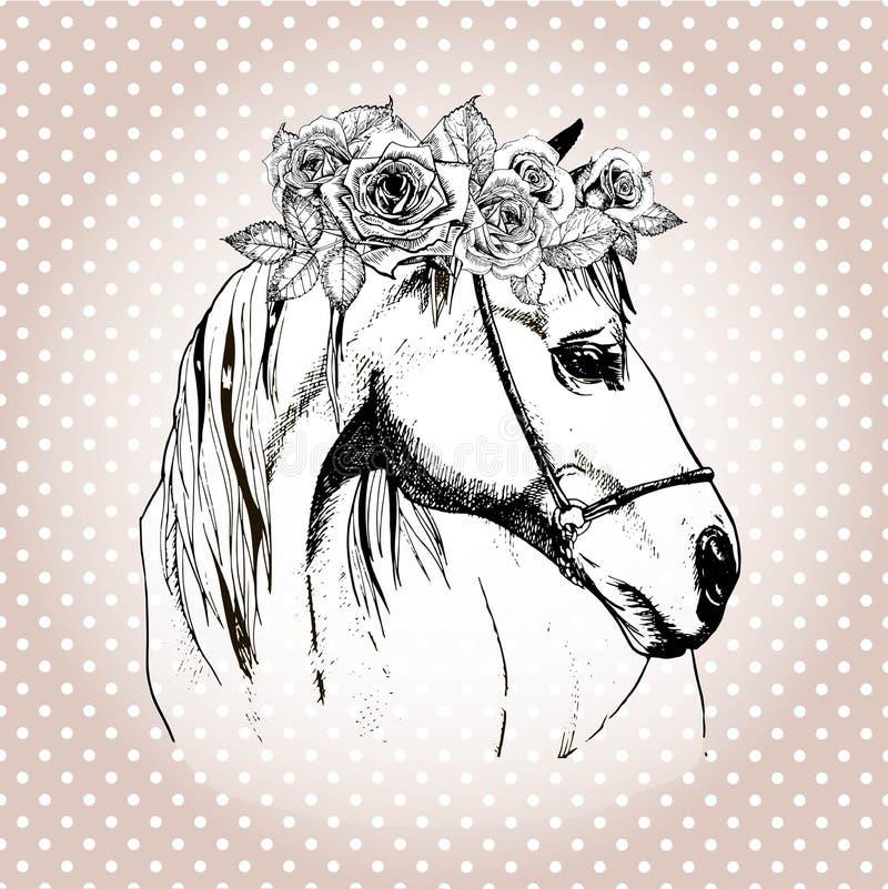 Dirigez le portrait tiré par la main du cheval utilisant la couronne florale Sur le fond de point de polka illustration libre de droits