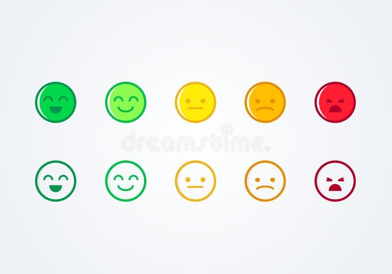 Dirigez le positif, le neutre et le négatif souriants d'icône d'emoji d'émoticônes d'humeur différente de concept de rétroaction  illustration de vecteur