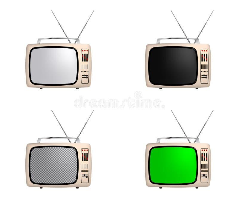 Dirigez le poste TV de rétro portable avec l'écran différent : blanc, noir, transparent et vert D'isolement sur le fond blanc illustration libre de droits