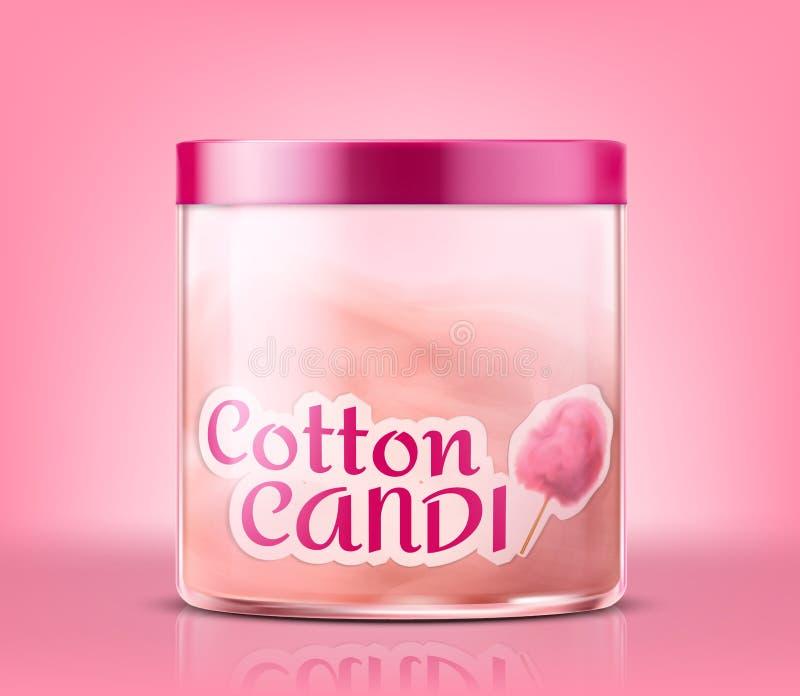 Dirigez le pot en verre fermé avec la sucrerie de coton douce illustration libre de droits