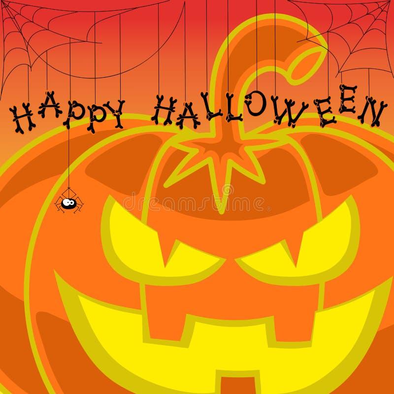 Dirigez le potiron de Halloween d'élément de conception sur le fond orange de gradient photographie stock
