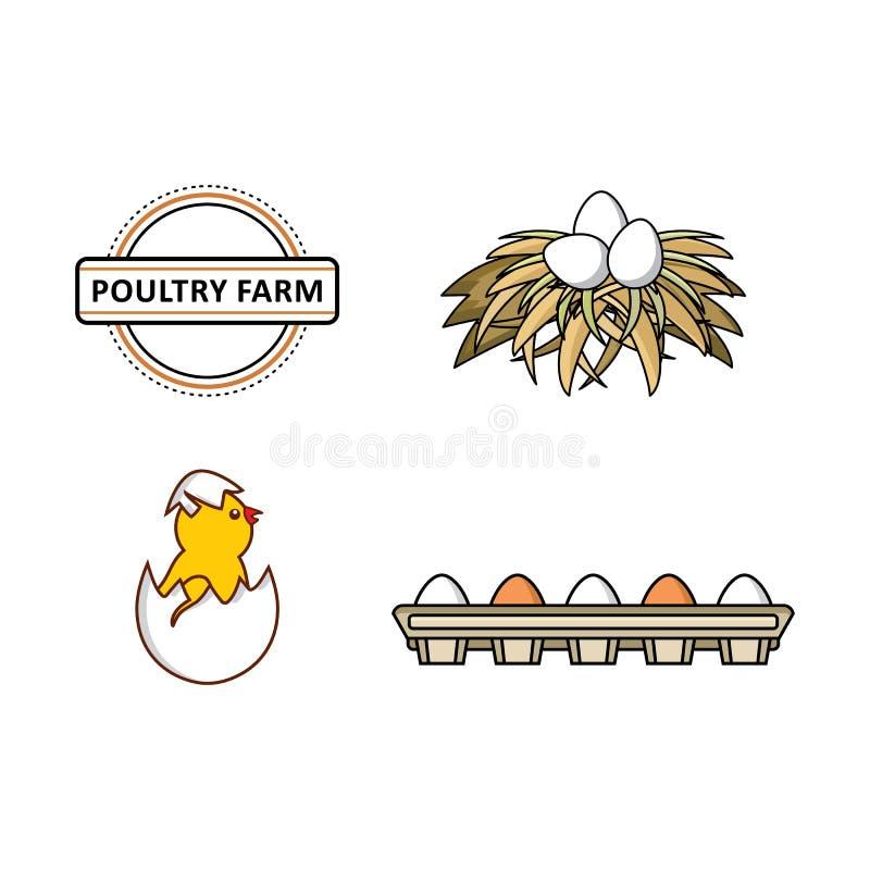 Dirigez le poulet plat, ensemble de symboles de volaille de ferme illustration stock