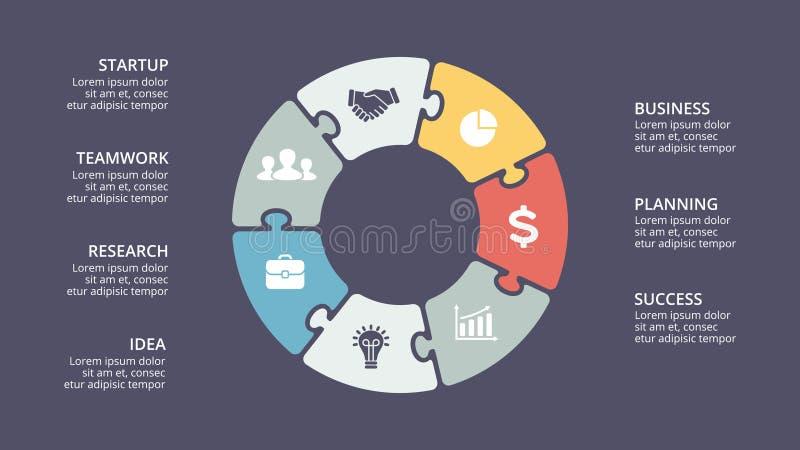 Dirigez le puzzle de cercle infographic, diagramme de cycle, graphique, diagramme de présentation illustration de vecteur
