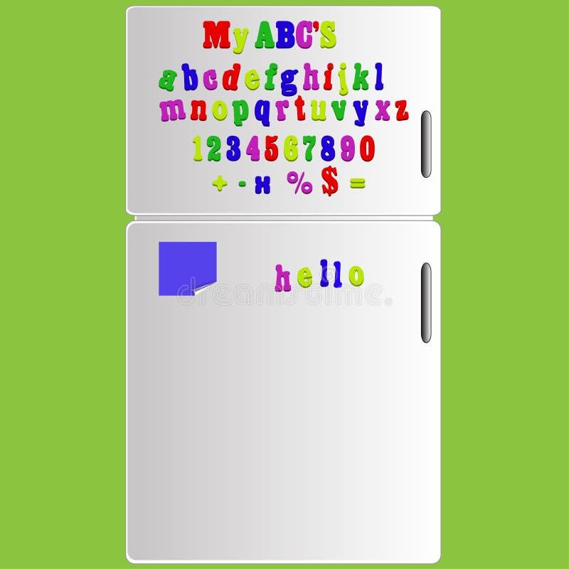 Dirigez le réfrigérateur avec ABC le d'épellation d'alphabet d'aimant illustration stock
