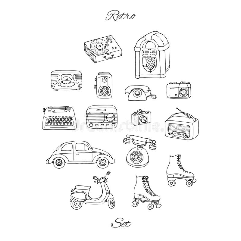 Dirigez le rétro ensemble avec la technologie antique, voiture, scooter, juke-box, radio illustration stock
