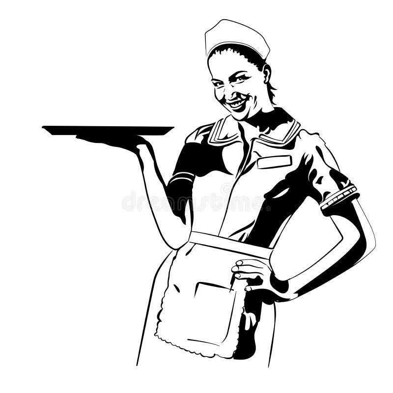 Dirigez le rétro fond de points d'image tramée de serveuse de wagon-restaurant d'image illustration libre de droits