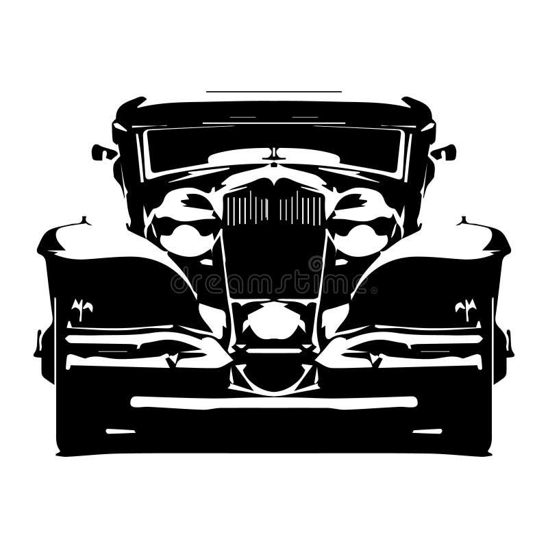 Dirigez le rétro hotrod dénommé de silhouette salut-détaillée d'isolement sur le fond blanc illustration de vecteur