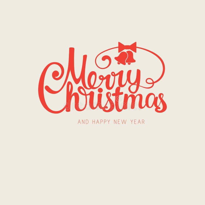 Dirigez le rétro Joyeux Noël calligraphique tiré par la main à la mode moderne illustration libre de droits