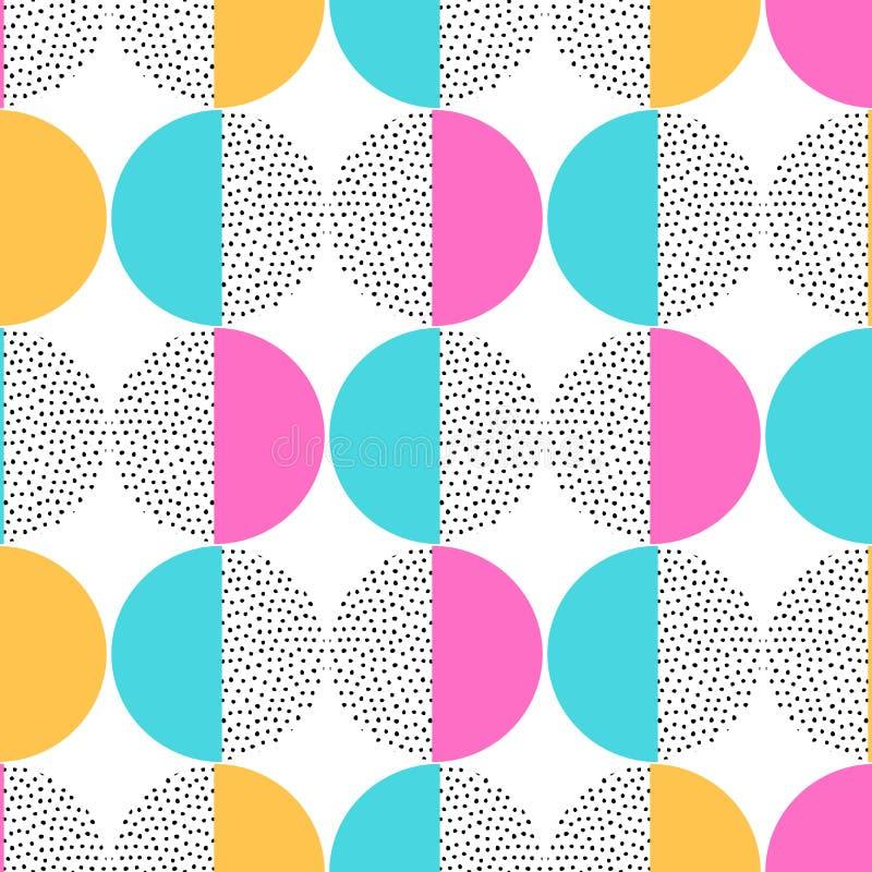 Dirigez le rétro modèle sans couture de Memphis avec les éléments géométriques ronds La géométrie à la mode dans le style de hipp illustration libre de droits