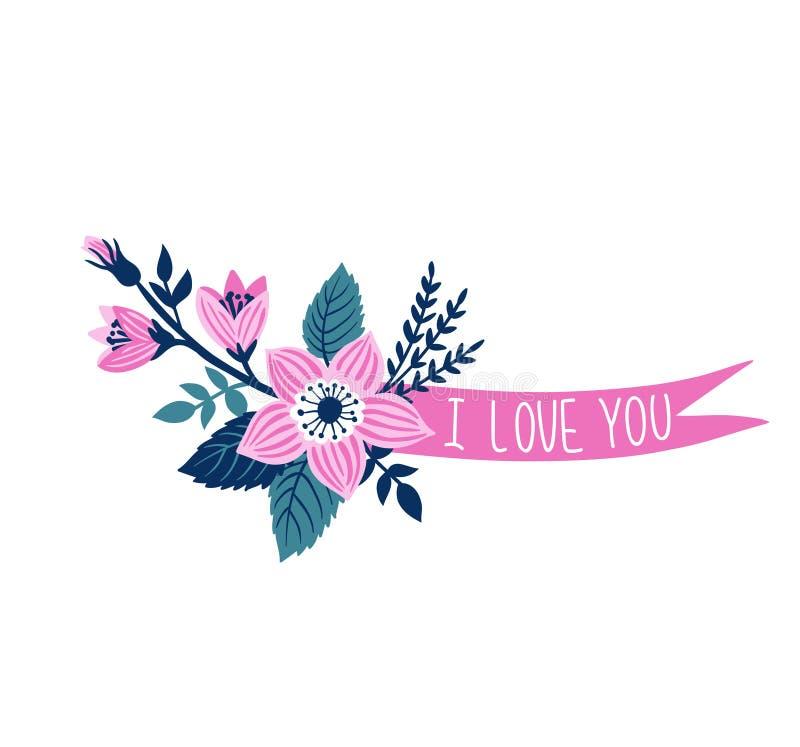Dirigez le ruban tiré par la main avec des fleurs et expression élégante - et x27 ; j'aime le you& x27 ; illustration libre de droits