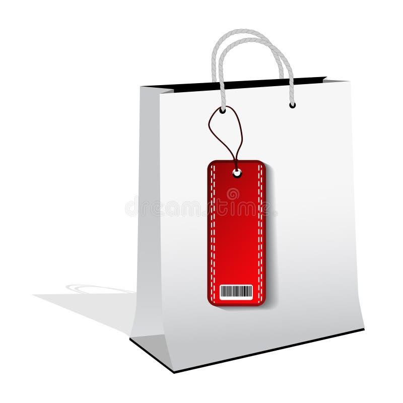 dirigez le sac à provisions avec l'étiquette de vente illustration de vecteur