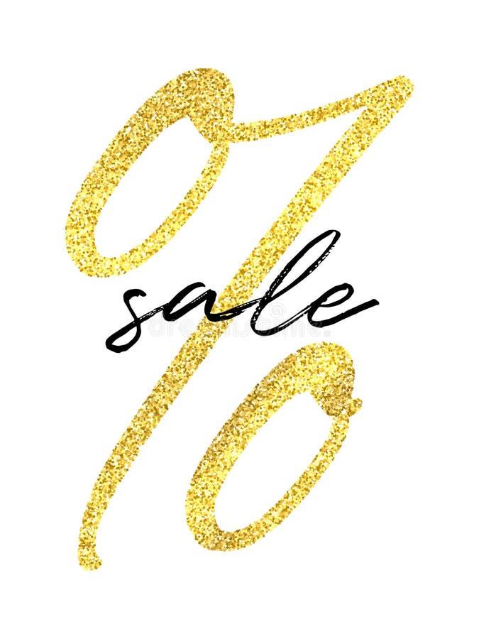 Dirigez le signe de pour cent d'or et le mot noir de vente sur le fond blanc Calibre d'insecte de vente illustration stock