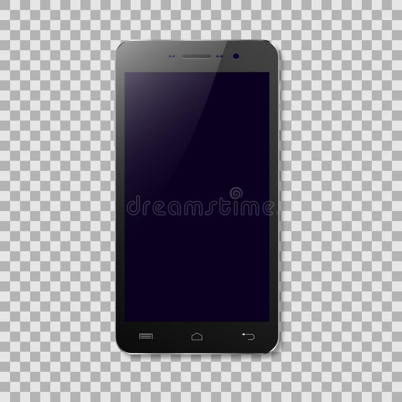 Dirigez le smartphone noir avec l'écran vide sur le fond transparent illustration libre de droits