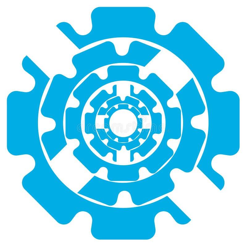 Dirigez le symbole abstrait d'illustration des vitesses bleues de couleur sur un fond blanc illustration de vecteur