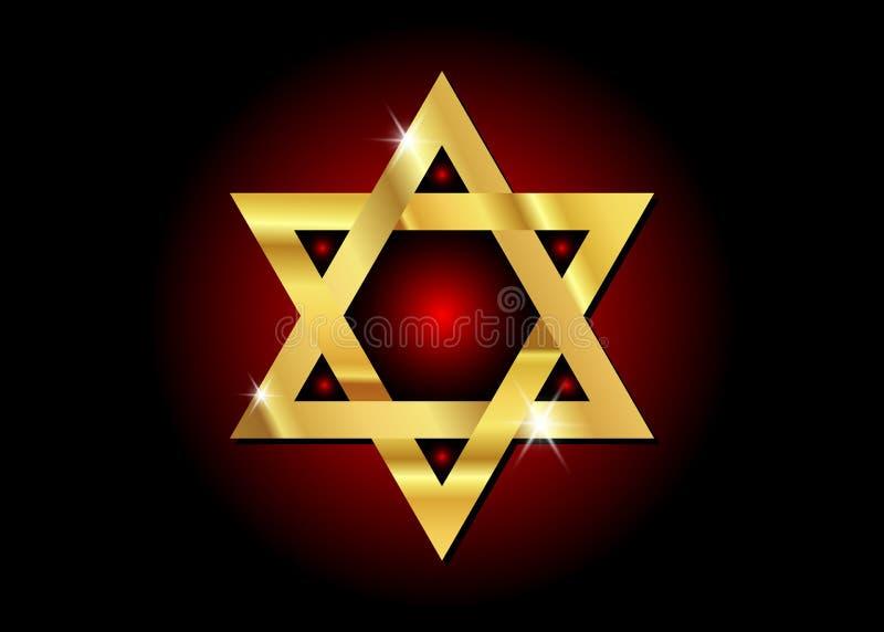 Dirigez le symbole de la religion de judaïsme, étoile de David d'or illustration de vecteur
