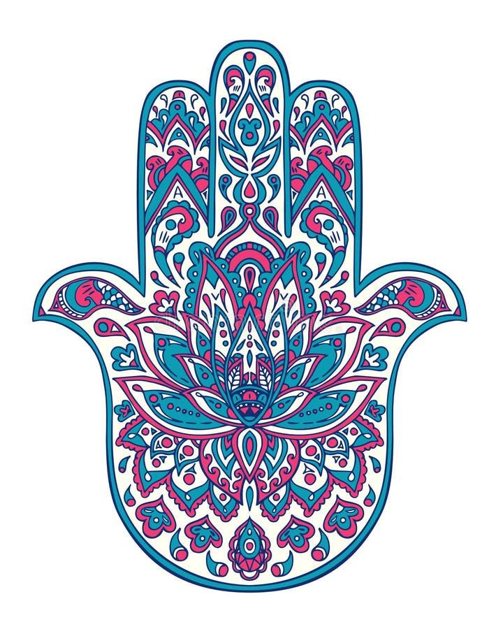Dirigez le symbole tiré par la main de hamsa avec les ornements floraux ethniques dans des couleurs roses et bleues photo stock