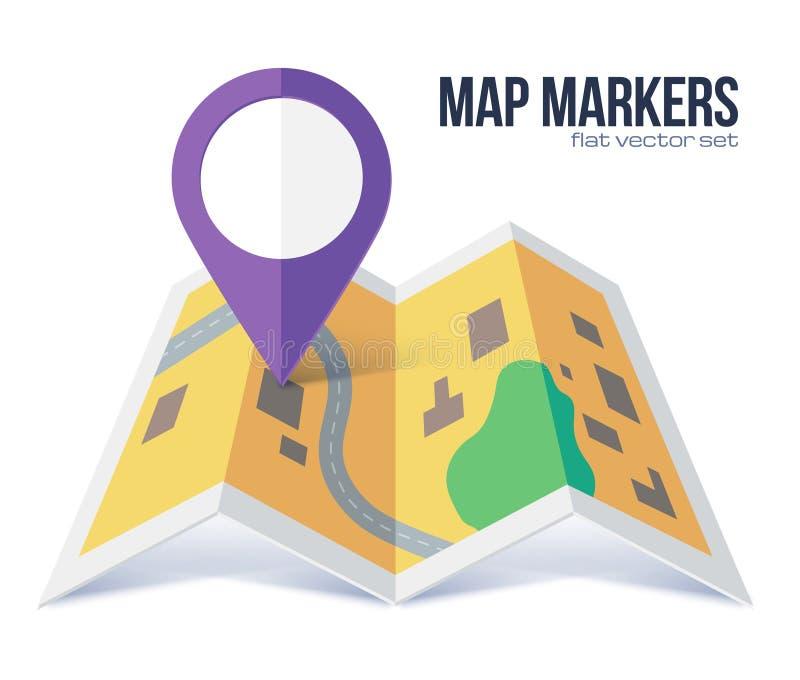 Dirigez le symbole violet plat de marqueur sur la carte jaune de ville illustration de vecteur