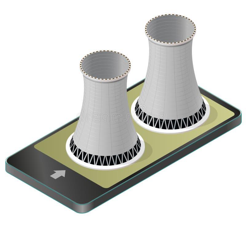 Dirigez le système de refroidissement isométrique de la centrale nucléaire dans le téléphone portable illustration de vecteur