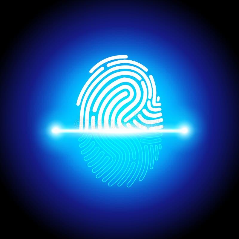 Dirigez le systemm d'identification de balayage d'empreinte digitale d'illustration, l'autorisation biométrique et le concept de  illustration de vecteur