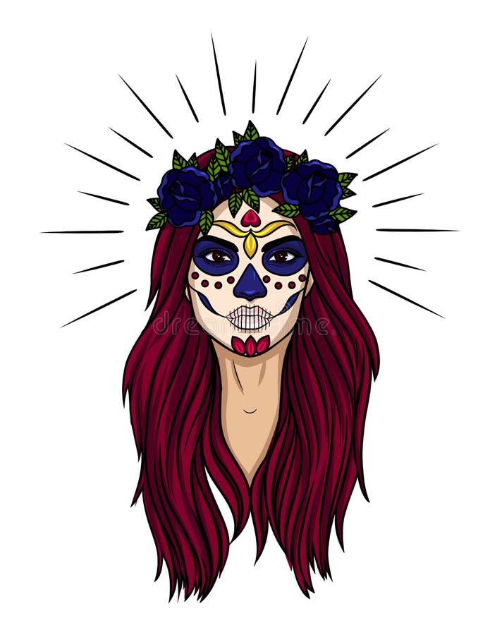 Dirigez le tatouage coloré du visage du ` s de femme pour le jour de célébration des morts illustration stock