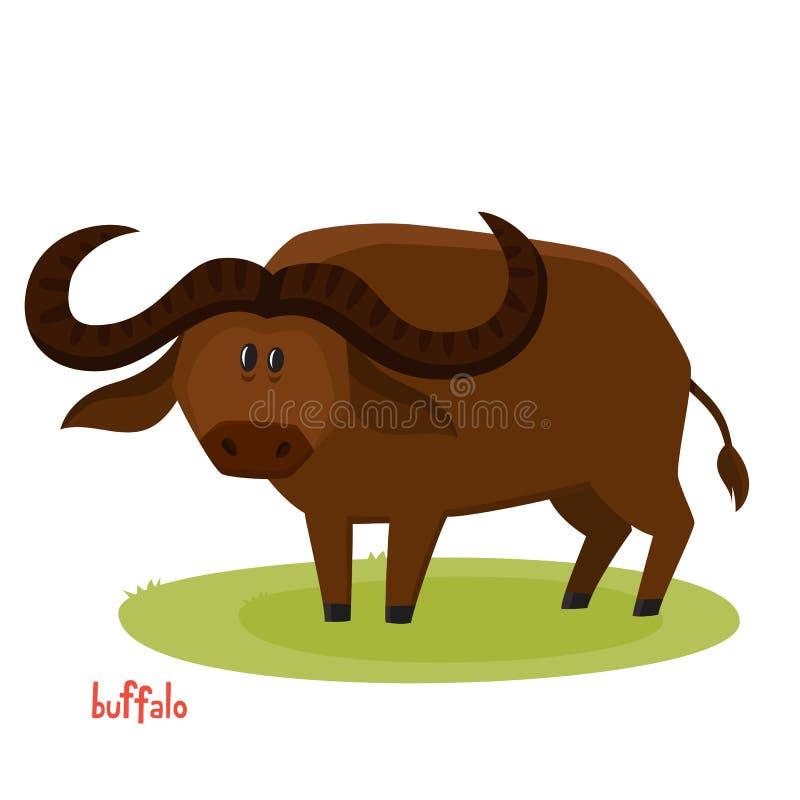 Dirigez le taureau mignon de buffle dans le style de bande dessinée d'isolement sur le fond blanc illustration libre de droits