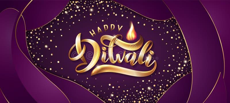 Dirigez le texte brillant Diwali de lettrage de vacances d'or avec les lampes abstraites de diya et la flamme légère de bougie illustration libre de droits