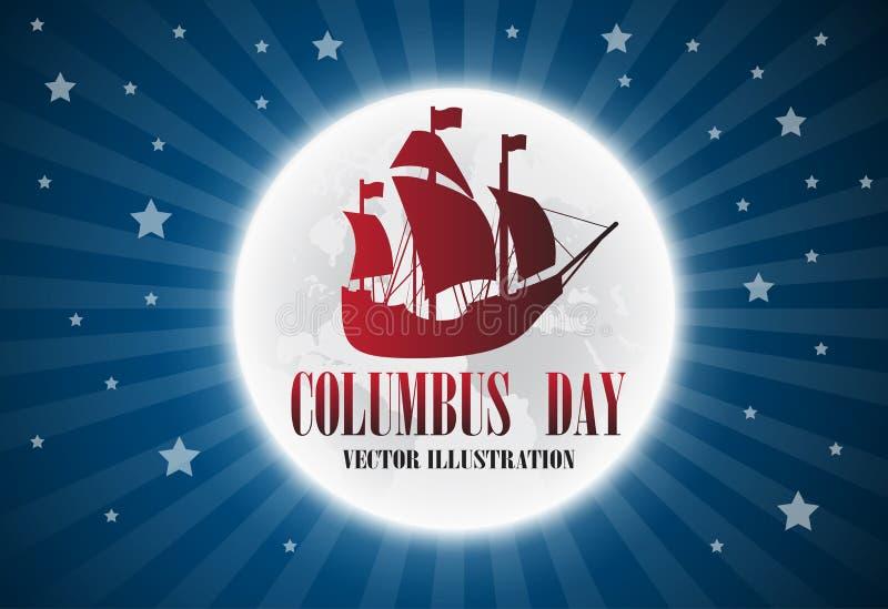 Dirigez le texte Columbus Day d'illustration avec le bateau sur le backgrou de drapeau illustration de vecteur