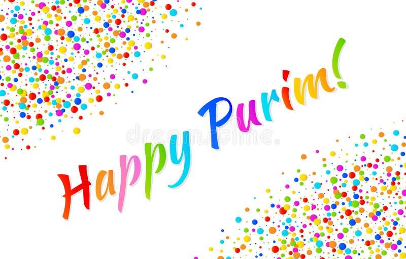 Dirigez le texte heureux de carnaval de Purim de carte horizontale lumineuse avec le fond de papier de cadre de confettis de coul illustration de vecteur