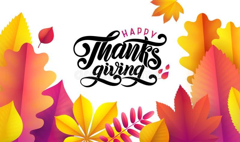 Dirigez le thanksgiving heureux tiré par la main, cadre tombé de feuilles sur le fond blanc Calligraphie de fête d'automne de sty illustration libre de droits