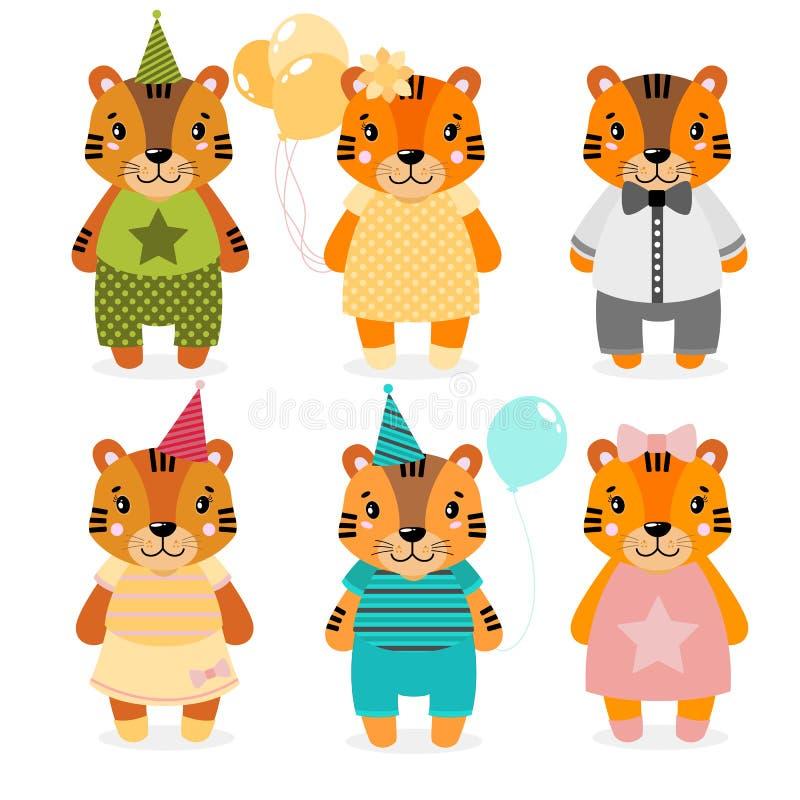 Dirigez le tigre, les filles et les garçons heureux mignons habillé dans différents vêtements Copie de Scrapbooking Félicitez la  illustration libre de droits