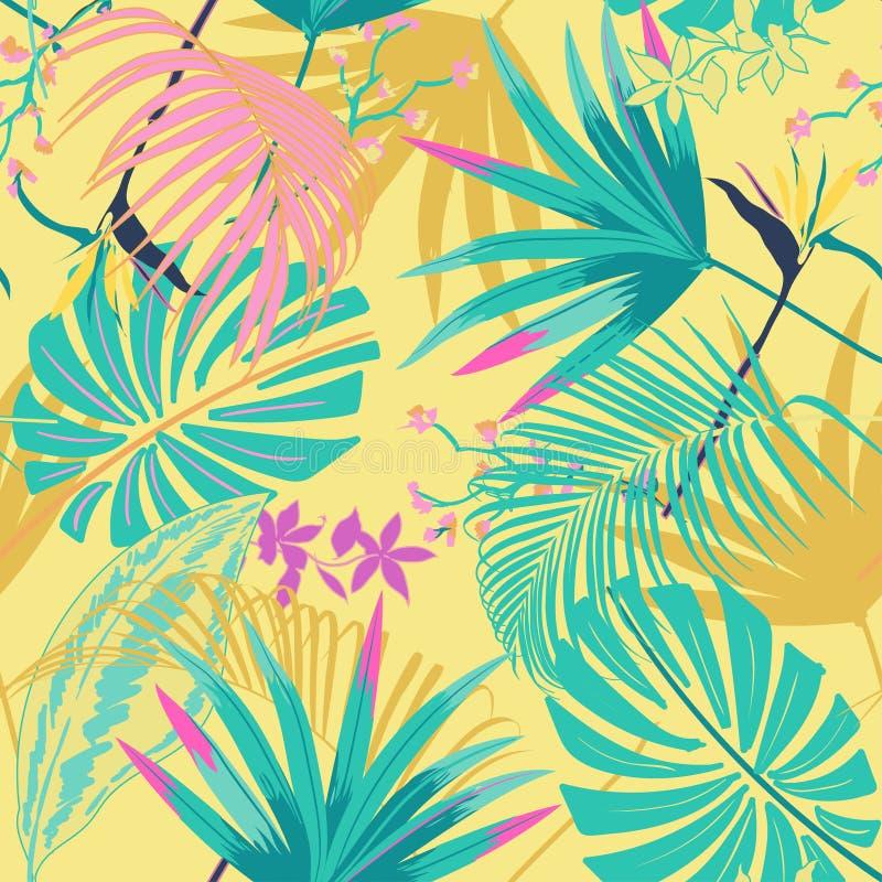 Dirigez le tropica lumineux de beau pastale artistique sans couture d'été illustration stock