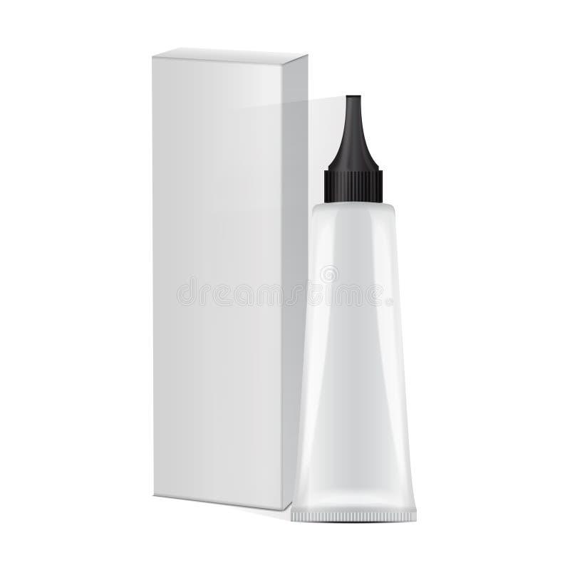 Dirigez le tube en plastique avec la capsule et le boîtier blanc noirs pour la médecine ou les cosmétiques - teinture capillaire, illustration stock