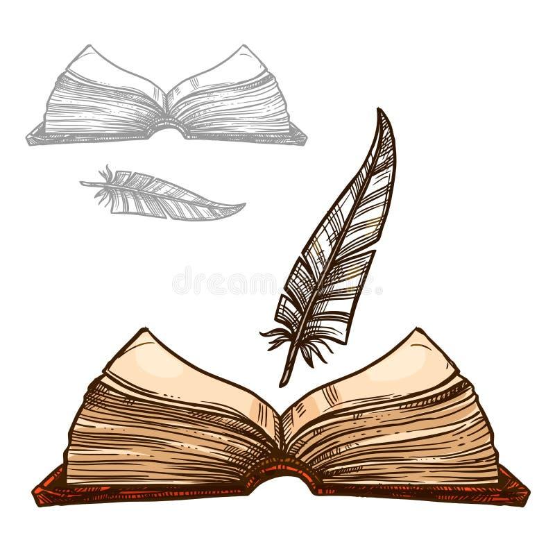 Dirigez le vieux stylo de cannette de plume de livre et d'encre de bloc-notes illustration libre de droits