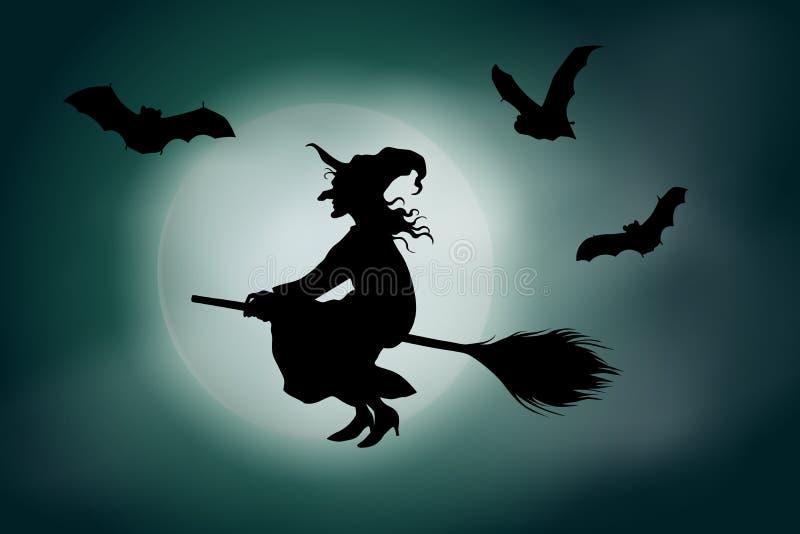 Dirigez le vol de sorcière sur un manche à balai devant une pleine lune sur le fond brumeux vert de ciel illustration libre de droits