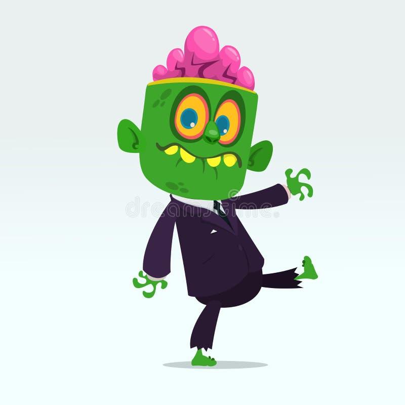 Dirigez le zombi vert drôle de bande dessinée avec le grand costume principal d'isolement sur un fond gris-clair Illustration de  illustration libre de droits