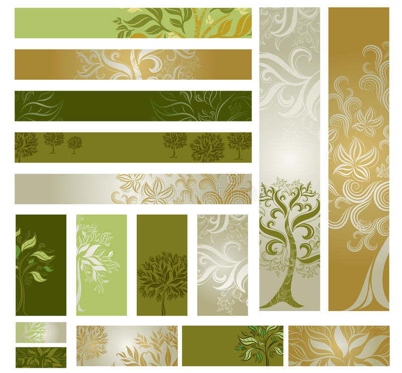 Dirigez les échantillons de Web-conçoivent (des drapeaux) avec l'arbre. illustration libre de droits