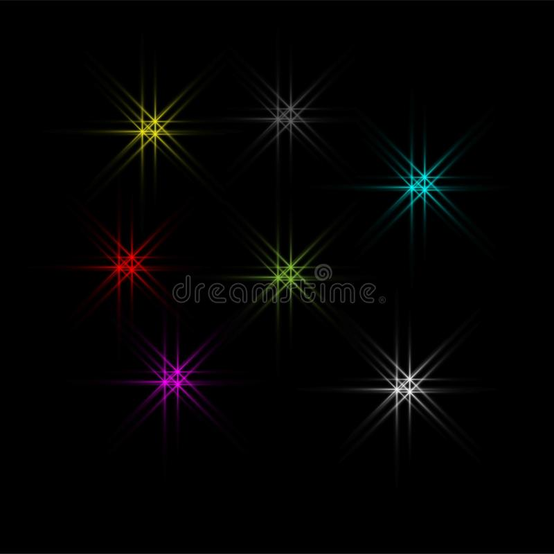 Dirigez les éclats légers rougeoyants avec des étincelles sur le fond noir illustration libre de droits