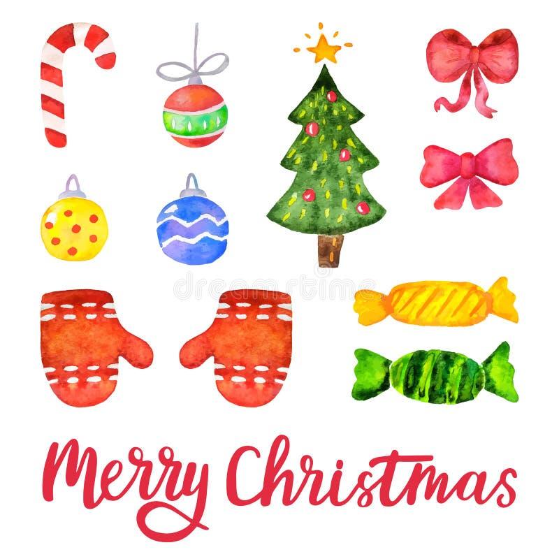 Dirigez les éléments de décoration de Noël d'aquarelle et de nouvelle année Ensemble d'éléments tirés par la main de conception d illustration libre de droits