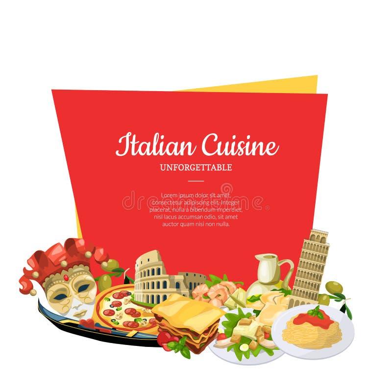Dirigez les éléments italiens de cuisine de bande dessinée au-dessous du cadre avec l'endroit pour l'illustration des textes illustration de vecteur