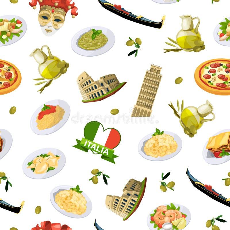 Dirigez les éléments italiens modèle de cuisine de bande dessinée ou l'illustration de fond illustration de vecteur