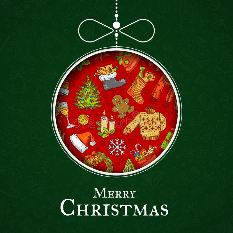 Dirigez les éléments tirés par la main de Noël avec Santa, arbre de Noël, cadeaux et jouet d'arbre de Noël de cloches illustration libre de droits