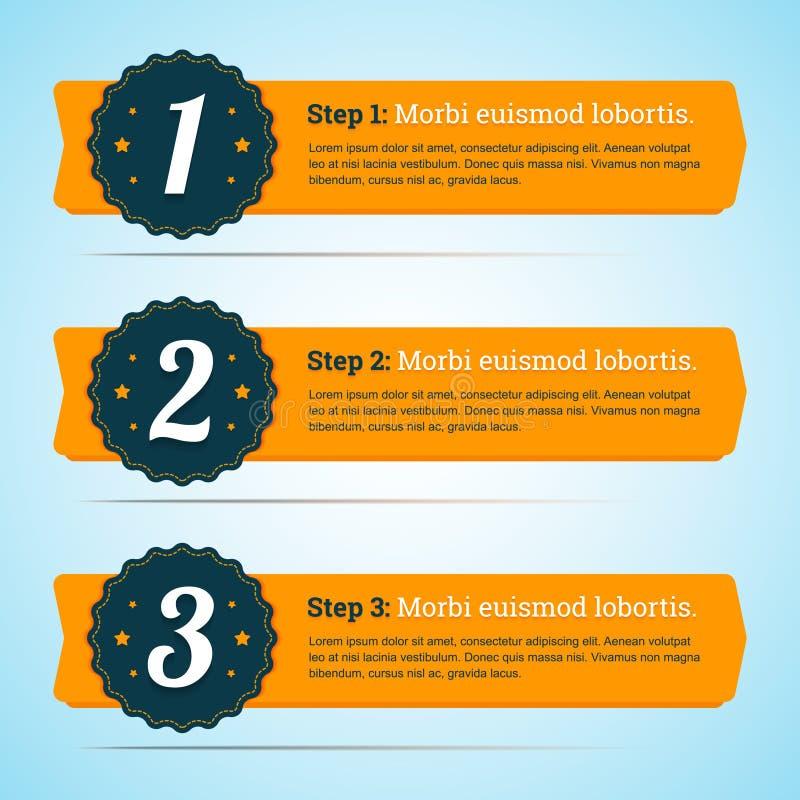 Dirigez les étapes, bannières de progrès dans le style plat pour vous infographic illustration stock