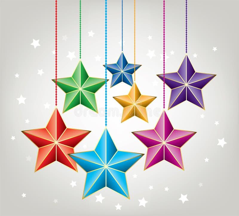 dirigez les étoiles colorées de Noël illustration libre de droits