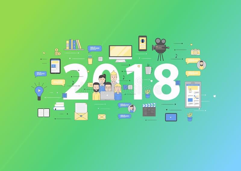 Dirigez les affaires 2018 de nouvelles tendances et perspectives dans les démarrages illustration de vecteur