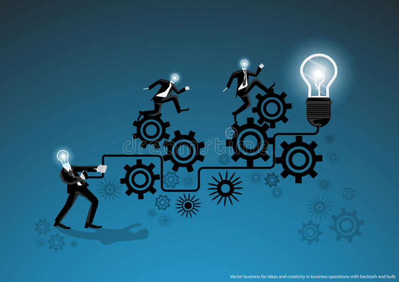 Dirigez les affaires pour des idées et la créativité dans des opérations commerciales avec le contrecoup et la conception plate d illustration libre de droits